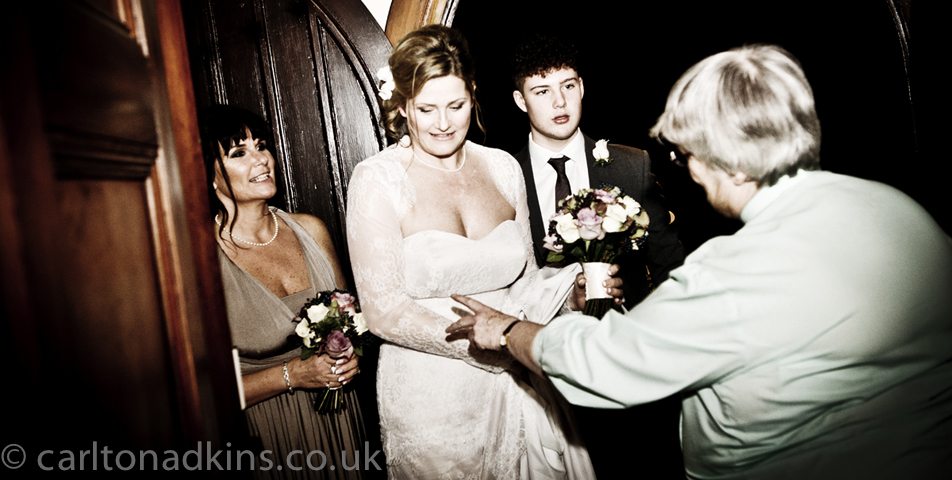 photography of the bride just before the wedding ceremony in knutsford cheshire