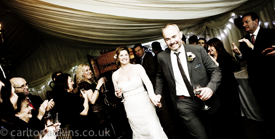 photography of the bride and groom arriving at the wedding breakfast in knutsford cheshire