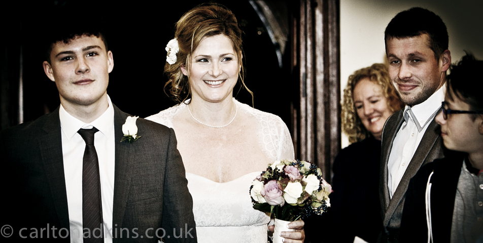 photography of the bride walking down the aisle at the cheshire wedding ceremony