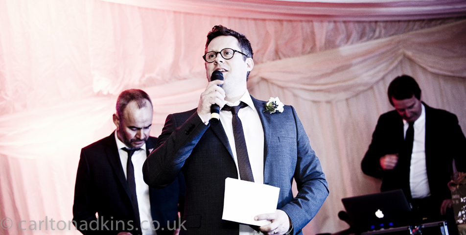 wedding photography of the bestmans speech in knutsford cheshire