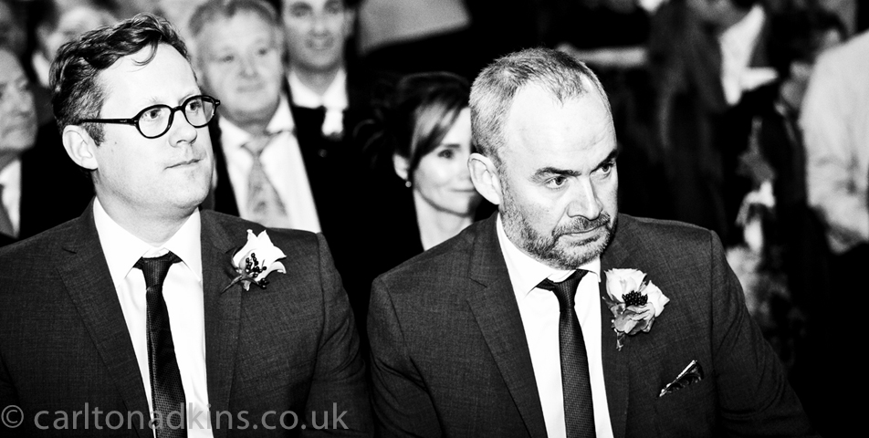 wedding photography of the groom just before the ceremony in knutsford cheshire