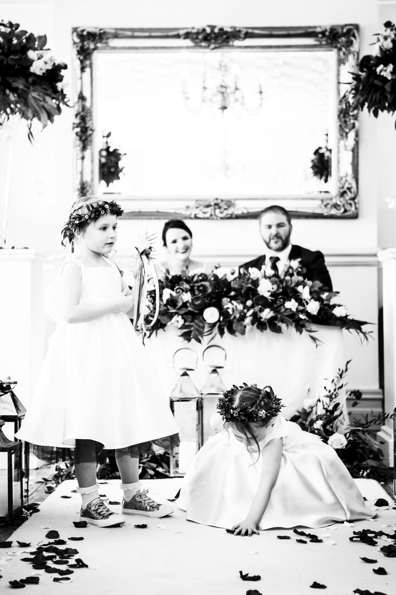 photography-of-the-bridesmaids-after-the-wedding-ceremony-at-nunsmere-hall