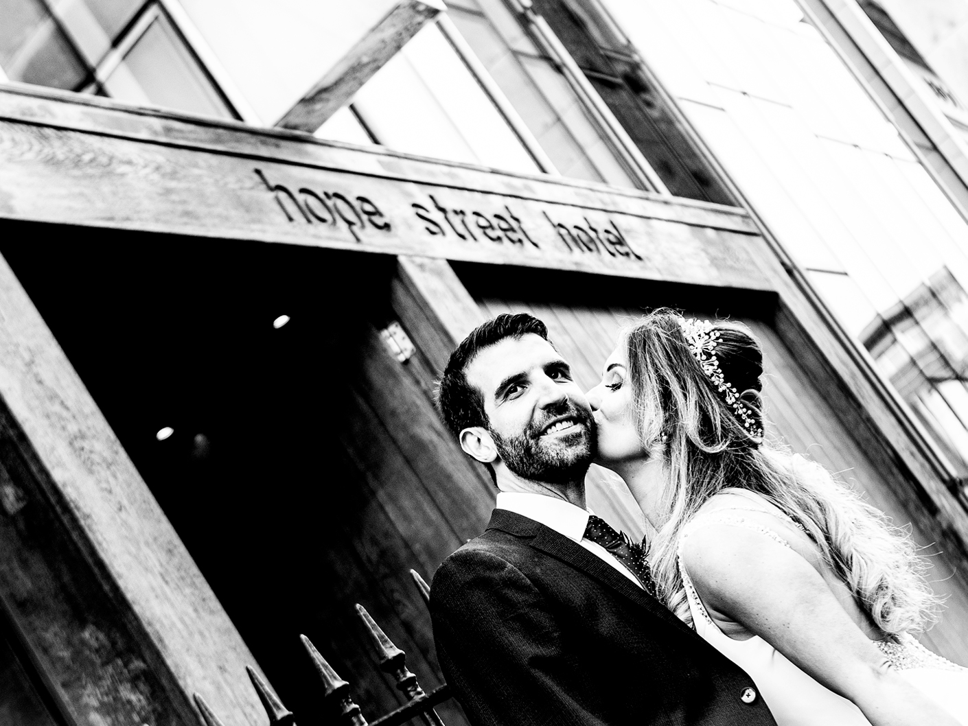 the-bride-and-groom-in-front-of-the-hope-street-hotel-liverpool